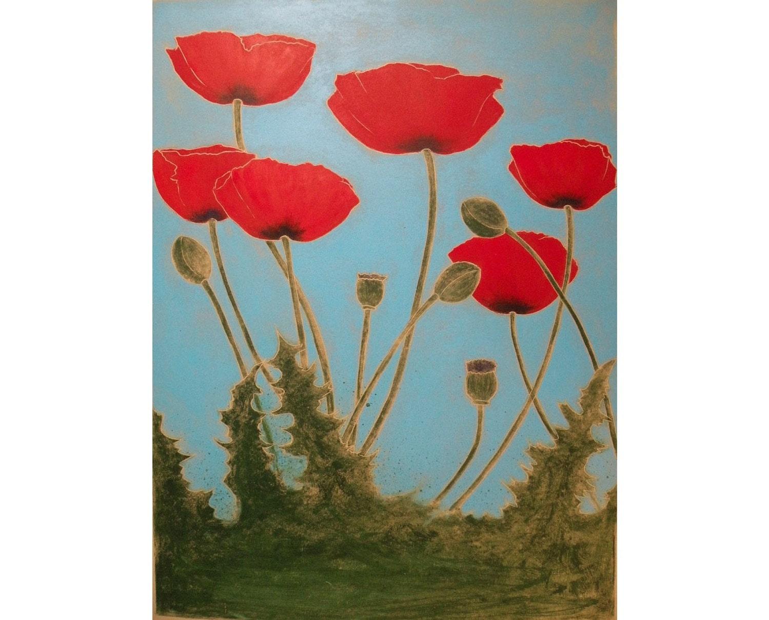 Poppies Original 18X24 inch Monoprint