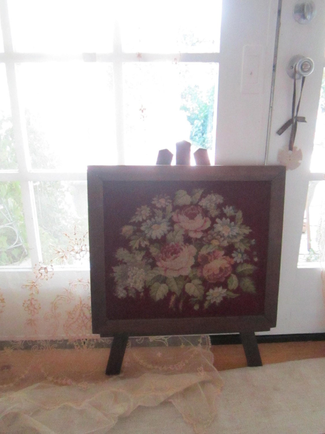 Needlepoint Victorian Fireplace Screen By Vintagewhitecottage