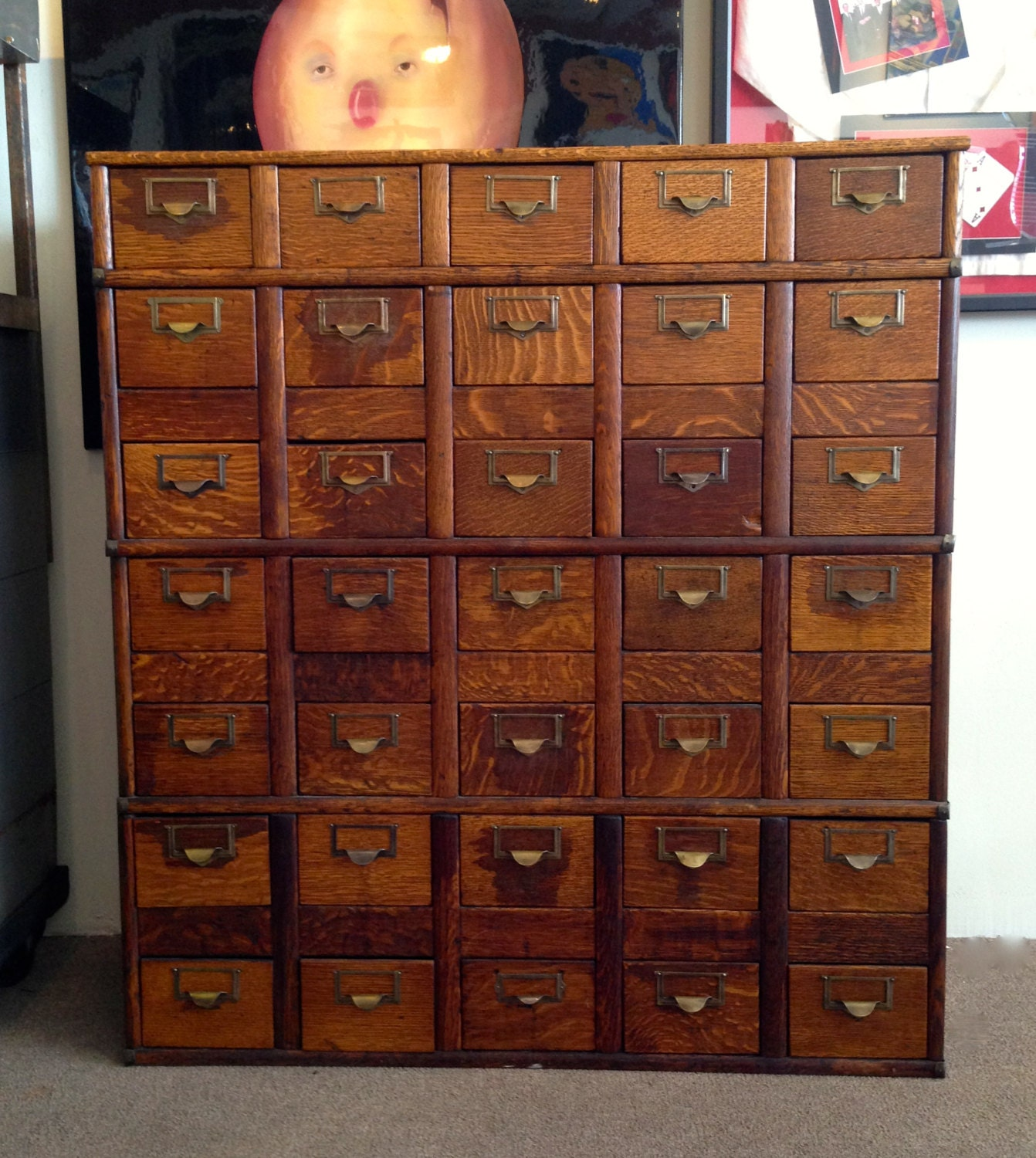 Vintage Oak Globe 35 Drawer Library Card Catalog Storage Cabinet - medusasantiques