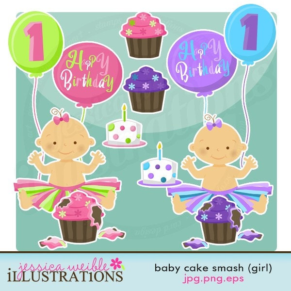 birthday cake clip art for girls. Baby Girl Cake Smash Cute