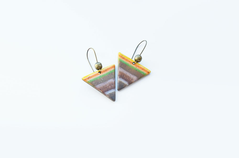 Geometric striped triangle earrings - polymer clay, tribal, country, colorful, lightweight - Geometric jewelry - JustBetter