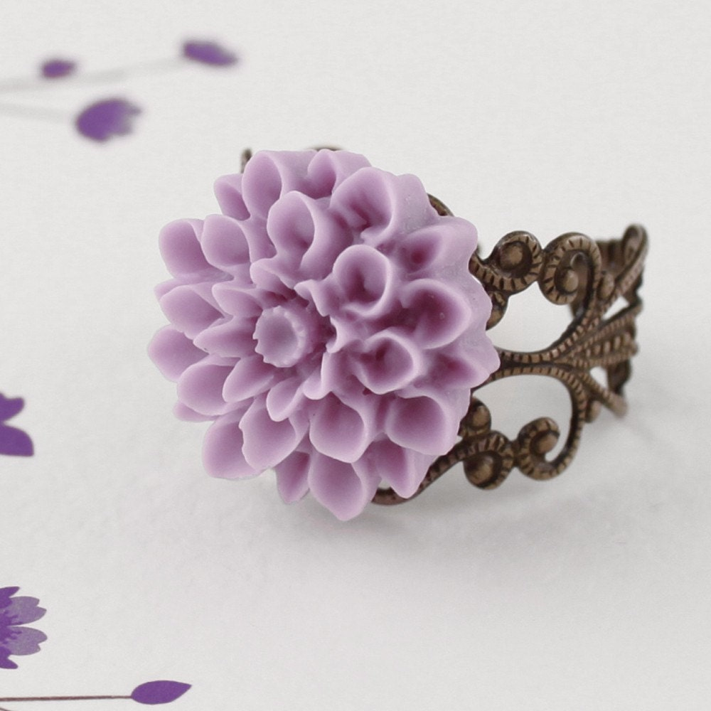 PIXIE  Romantic Vintage Inspired Filigree Flower Ring