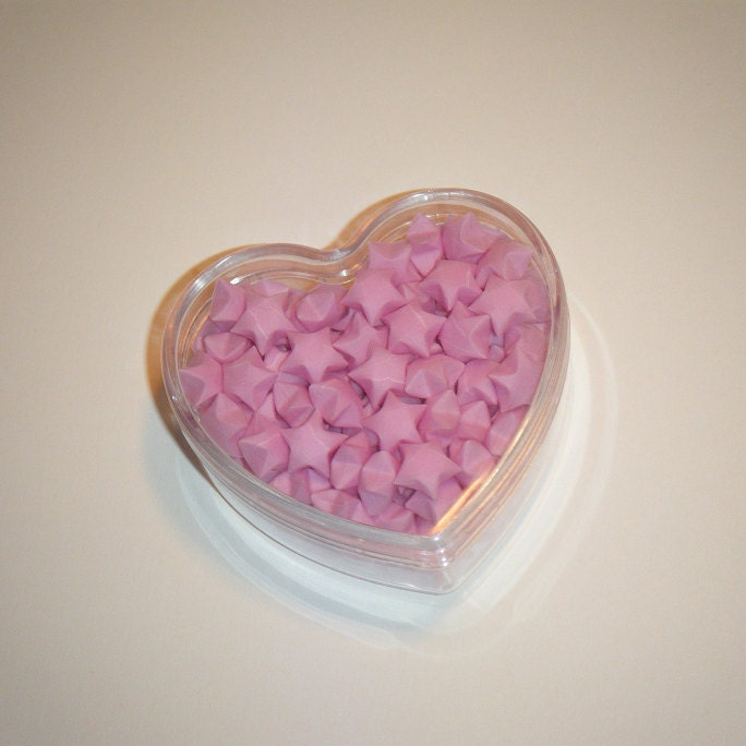 Tiny Pale Pink Origami Lucky Stars in Clear Plastic Heart Container