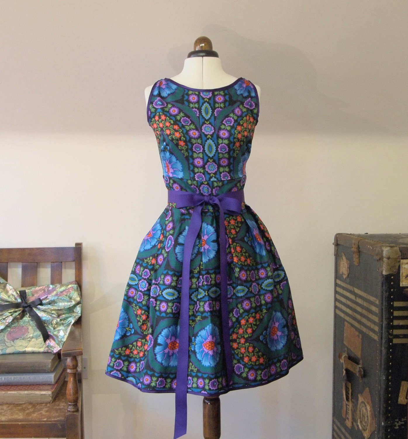Purple Print Party Dress OOAK Medium