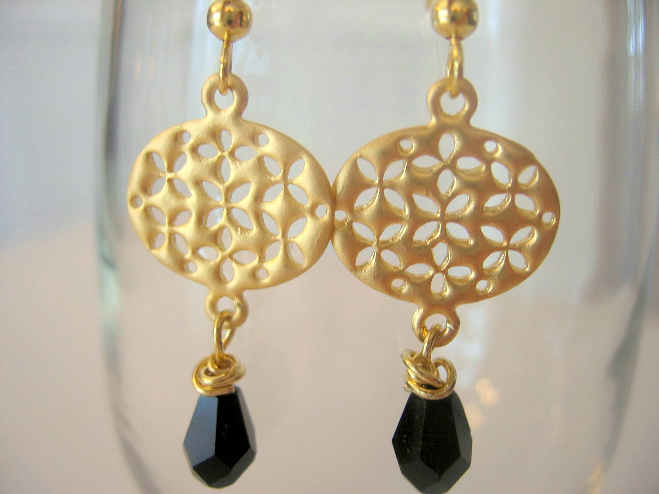 Gold Plated Filigree with Black Bead