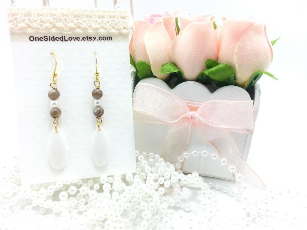 Ellen - Lucky Wooden Agate Stone with teardrop white findings Bridal Earrings Wedding Earrings Simple Earrings Gold Jewelry Bridesmaid - OneSidedLove