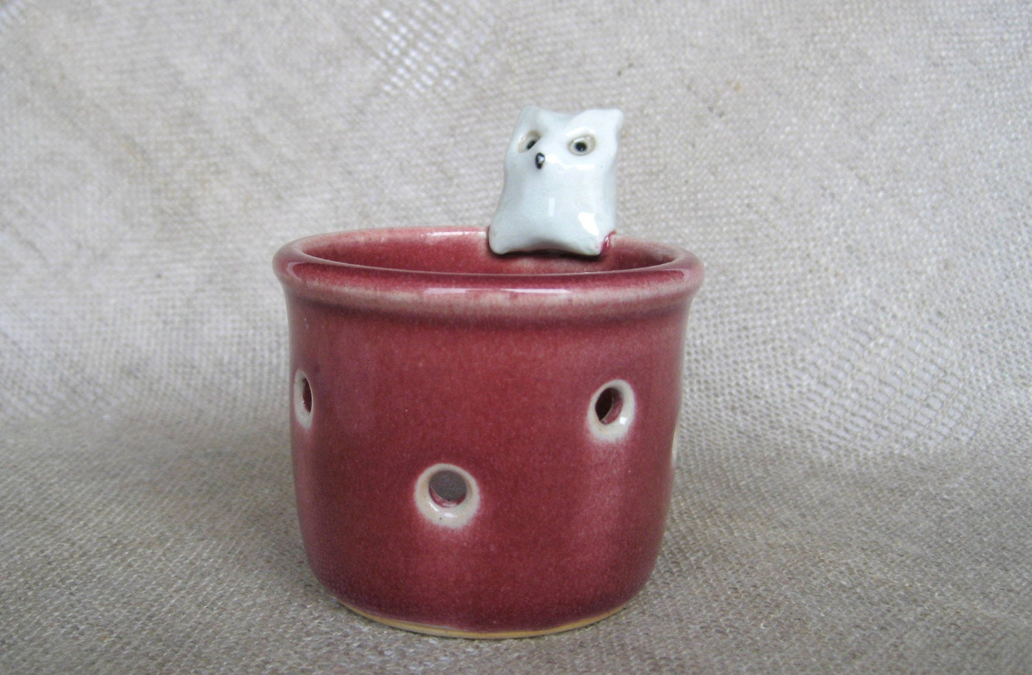 Votive candle holder with Ernie - white owl