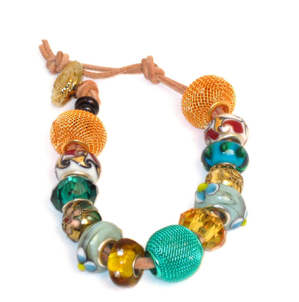 The perfect casual bracelet: Euro bead style bracelet has Metal mesh beads, faceted glass beads, ceramic beads on 2 strands suede - CharmedBaublesNBeads