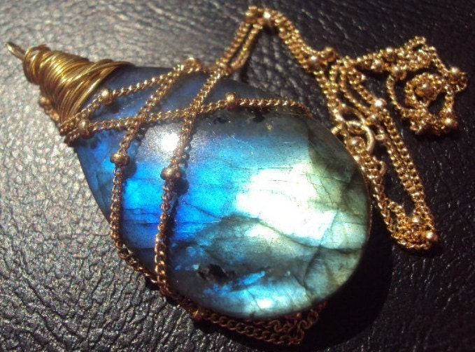 NIGHT TIME...Extreme Blue, Purple, Green Fire XL Labradorite Pear Briolette Pendant and Gold-filled Necklace