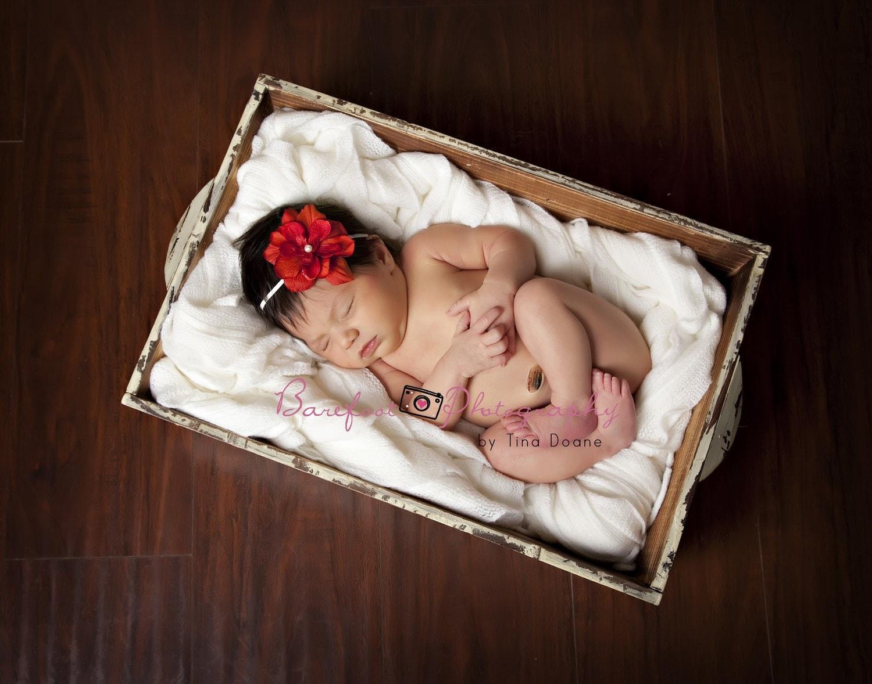 bebê headband, Red Flower Headband no branco magro elástica, Props Fotografia, Headband Newborn