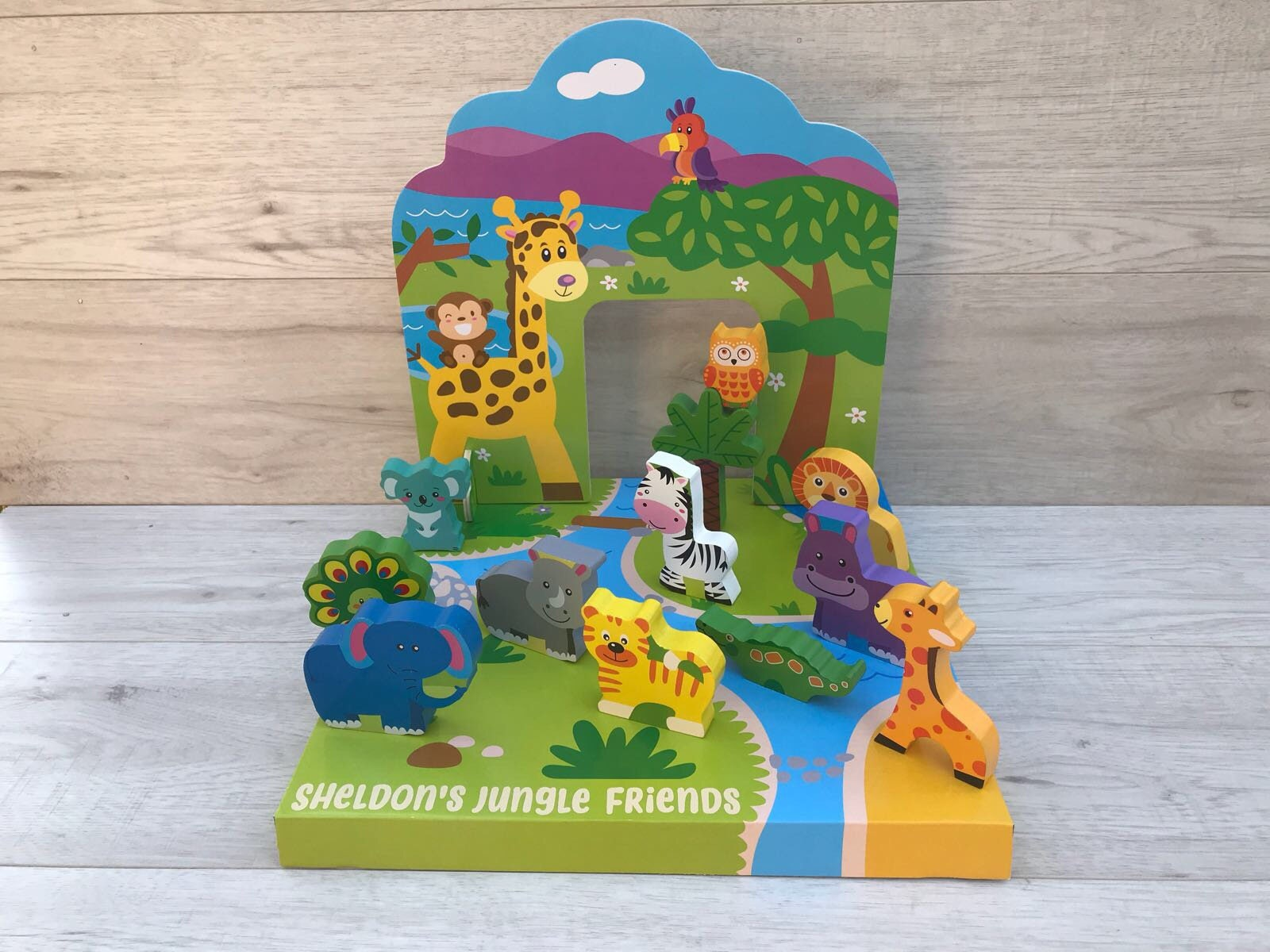 Personalised wooden zoo play world gift for him gift for her pretend play zoo animals