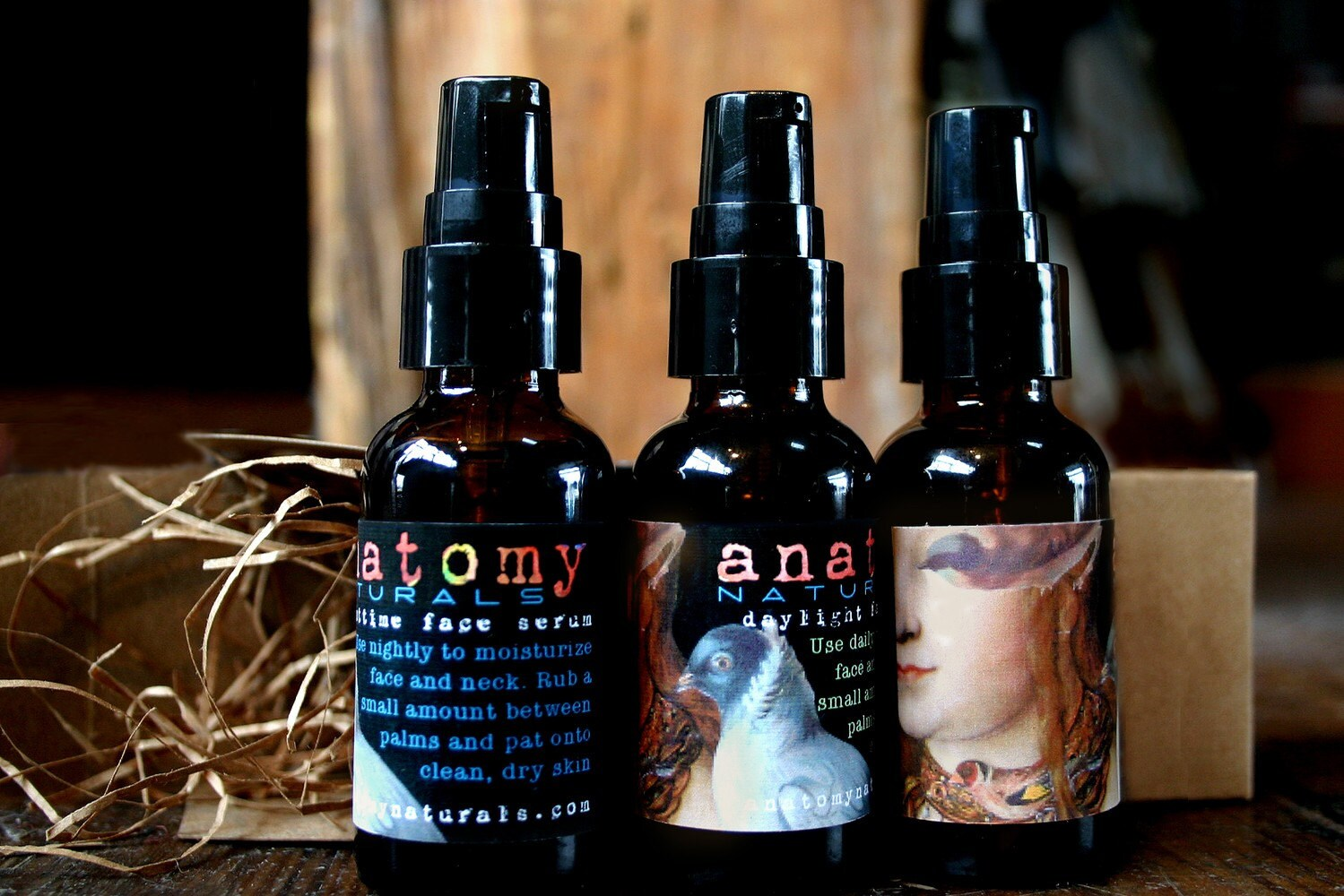 Natural face serum for day and night with nourishing oils and a pretty art collage label