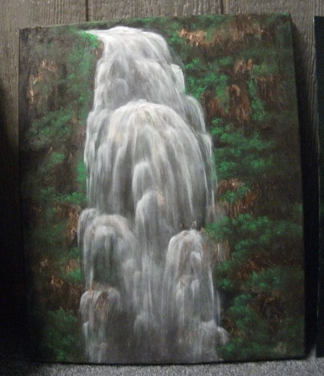 Jungle Waterfall Original Landscape Oil Painting - hobbylady