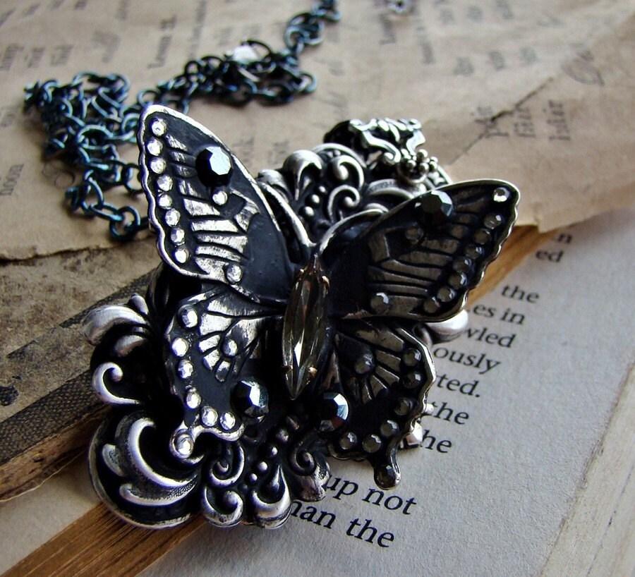 Gossamer Darkly - Butterfly with Rhinestones Necklace