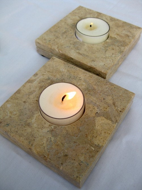 limestone candle holders