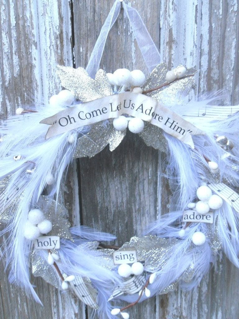Oh Come Let Us Adore Him feathered wreath