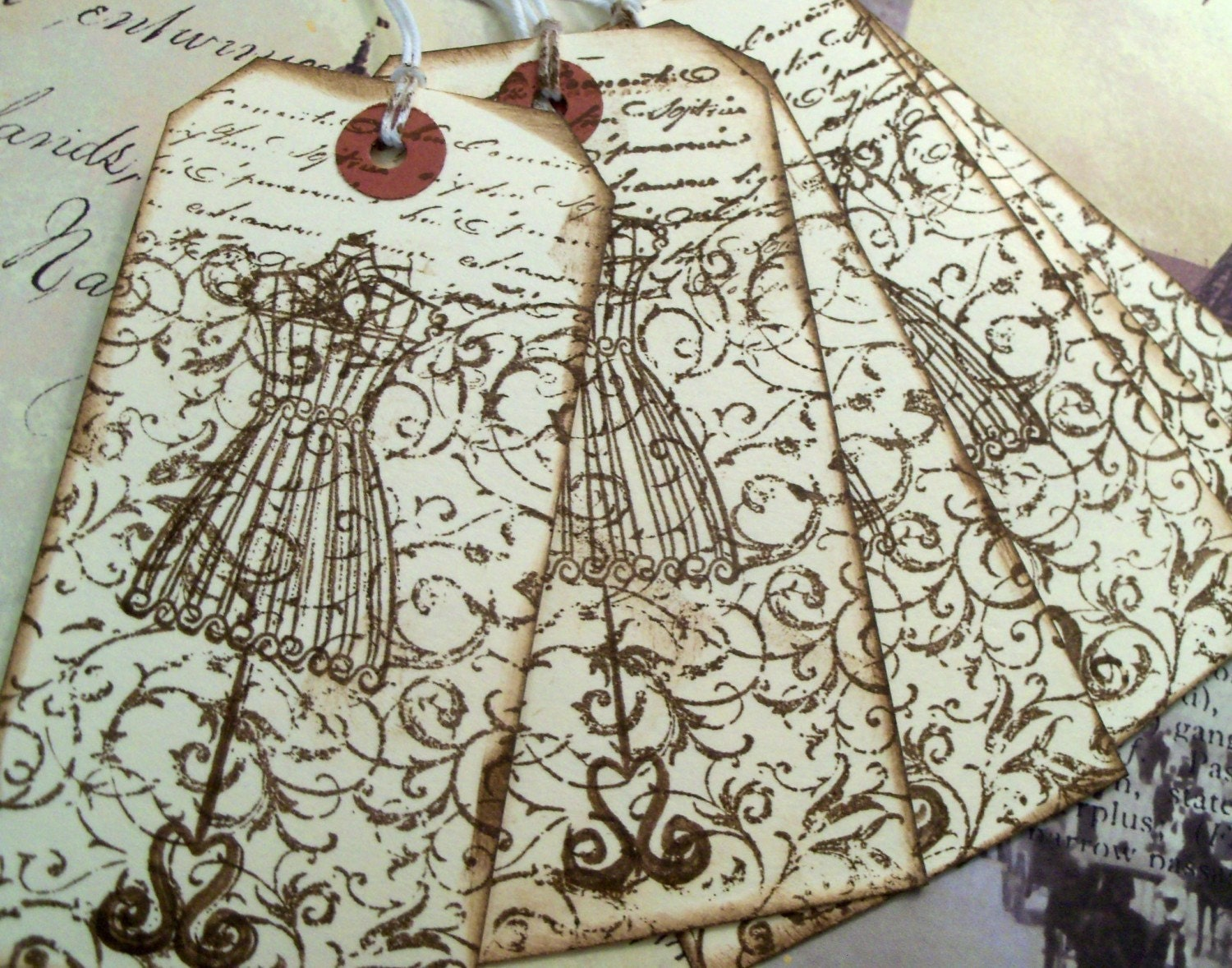 French Inspired Wire Dress Form Tags by GaGa4GiftTags on Etsy