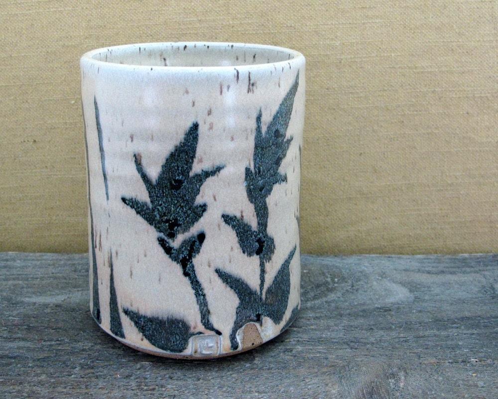 Wildflower hand warmer mug handleless pencil by lapellapottery - Handleless coffee mugs ...