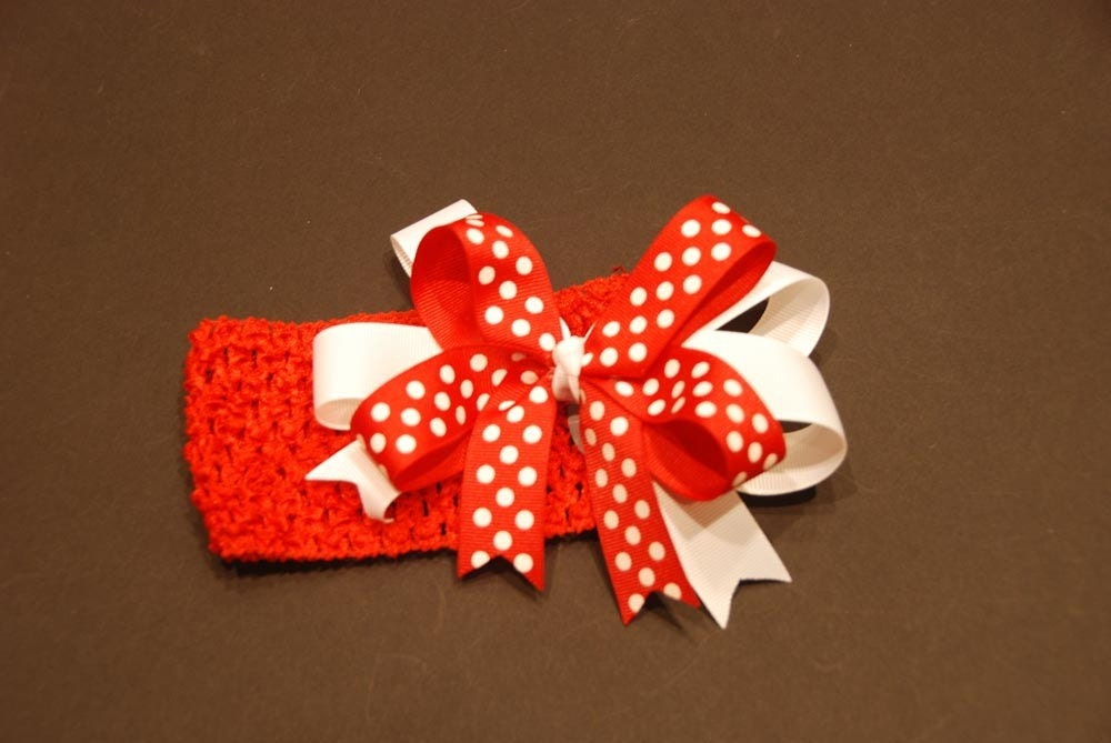 Red Headband with Red/White Polka Dot Hair Bow