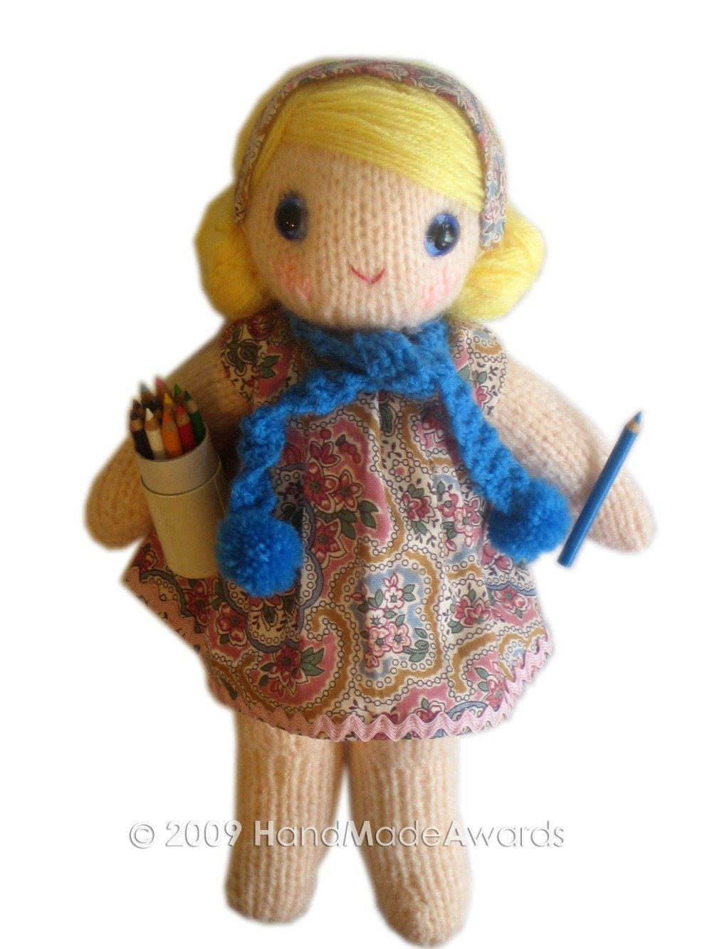 SWEETEST MONICA girly DOLL pocket friend KNIT PATTERN pdf EMAIL by HandMadeAwards