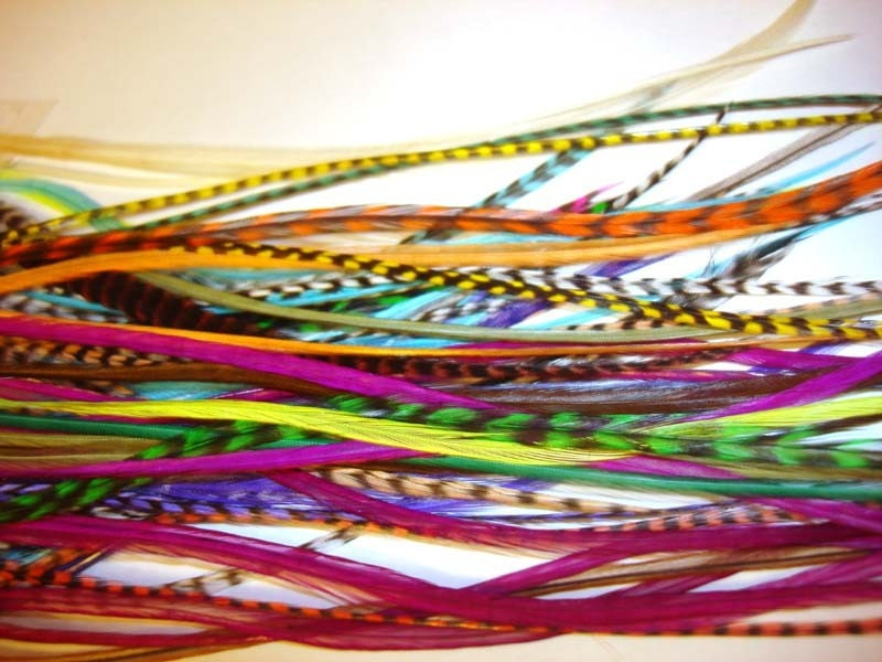 7 BRIGHT Hair Feathers: a random mix of grizzly and bright feathers with 5 crimp beads in your color choices