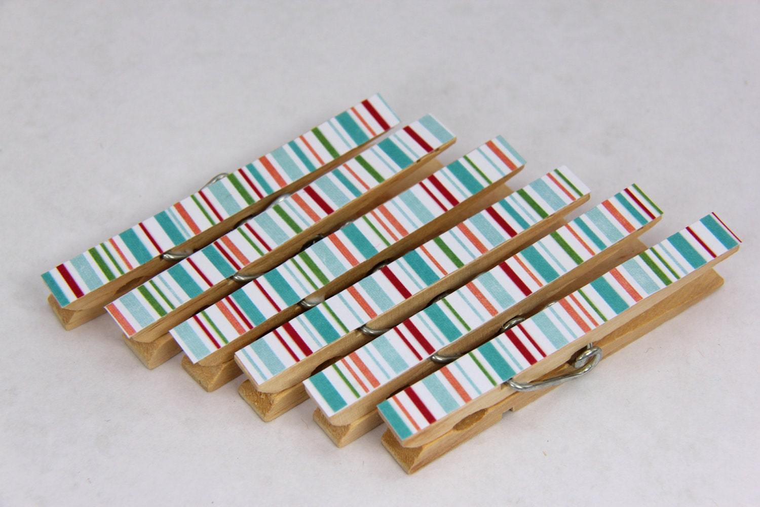 Decorated Wooden Clothes Pegs/Pins, Blue and Red Stripes - Set of 6 - Pepperpicnic