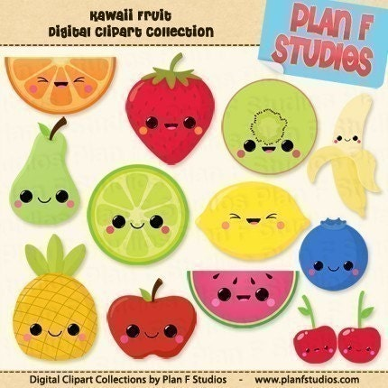 clip art fruit. Kawaii Fruits Clipart