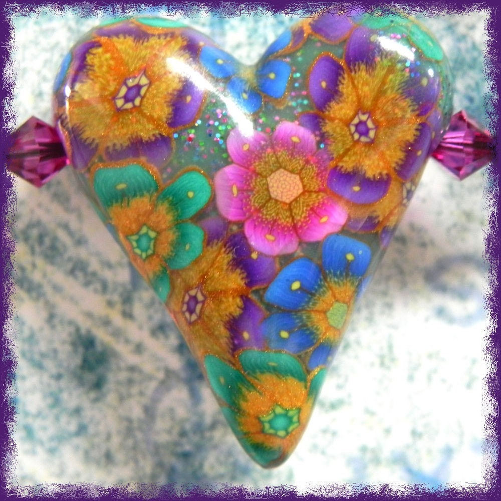 Bohemian Flower Heart Swing Necklace - Polymer Clay Heart