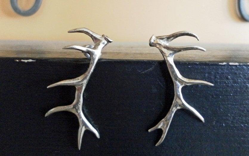 sterling silver antler earrings by secondhandwonderland on