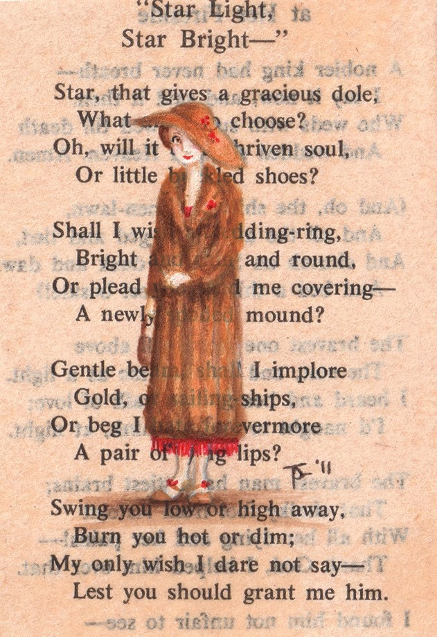 Original ACEO painting on vintage book page - New York, 1923 - Betsy Loved Her New Red, Beaded Dress, But Did She Have The Confidence To Show It Off