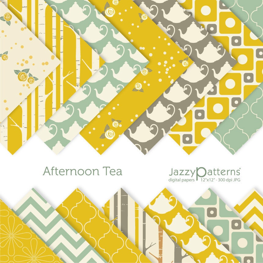 Afternoon Tea digital scrabooking paper pack DP074