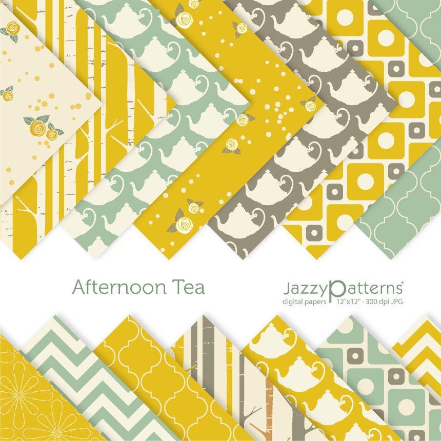 Afternoon Tea digital scrabooking paper pack DP074