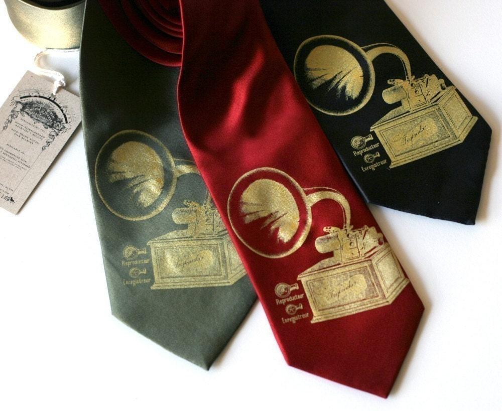 Toybreaker phonograph screenprinted silk necktie