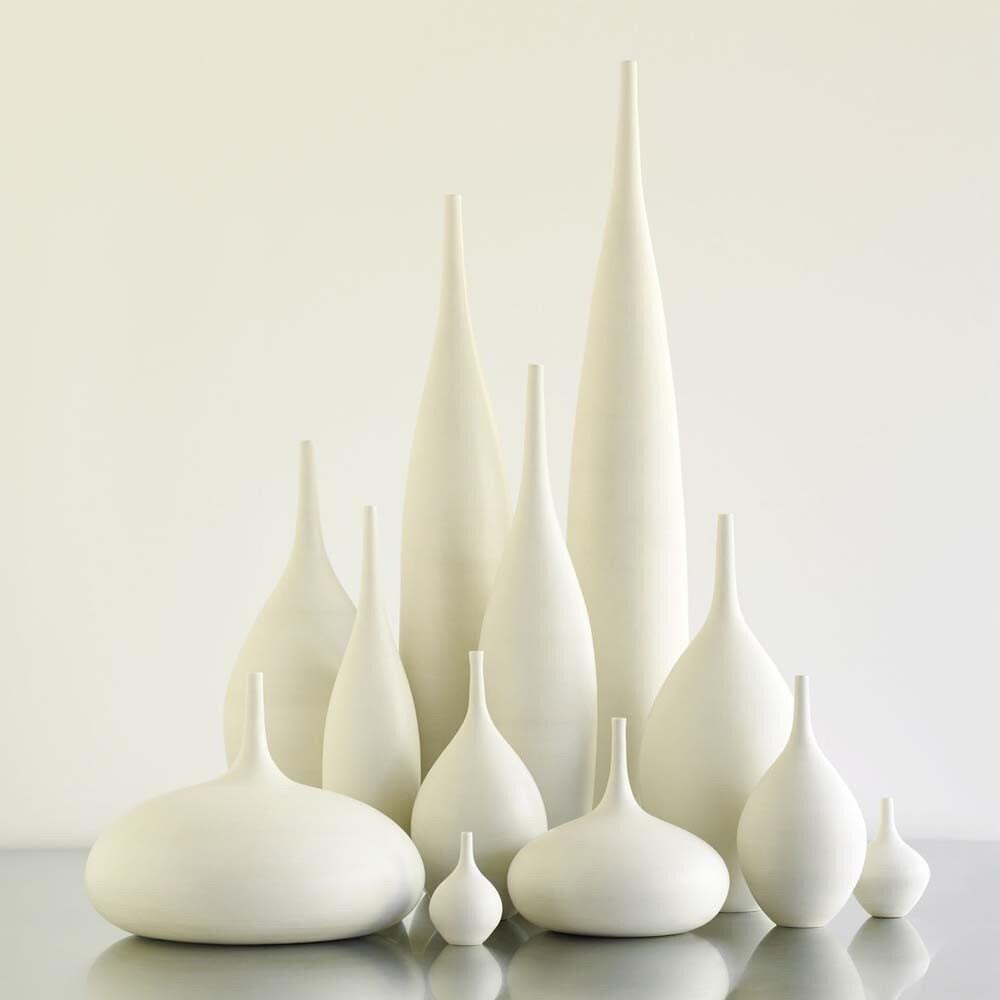 12 White Ceramic Modern Bottle Vases by Sara Paloma