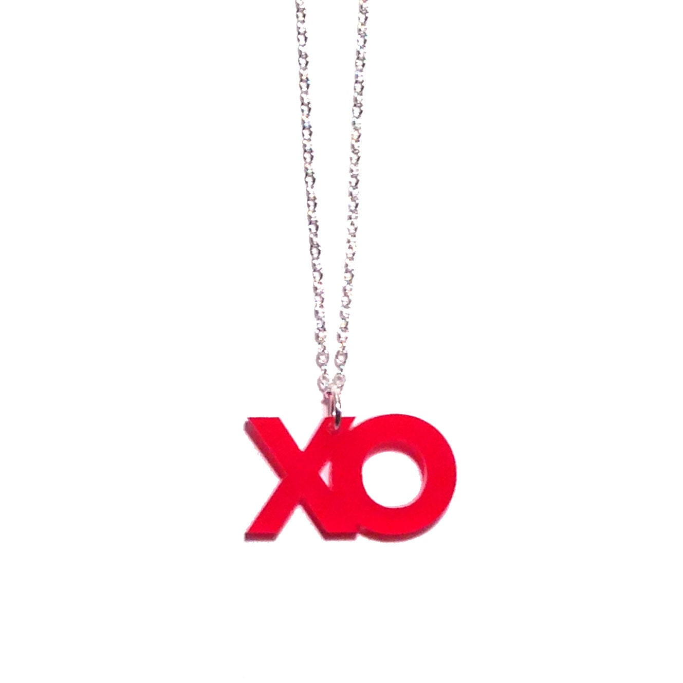 xo hugs and kisses necklace (red) - plastique