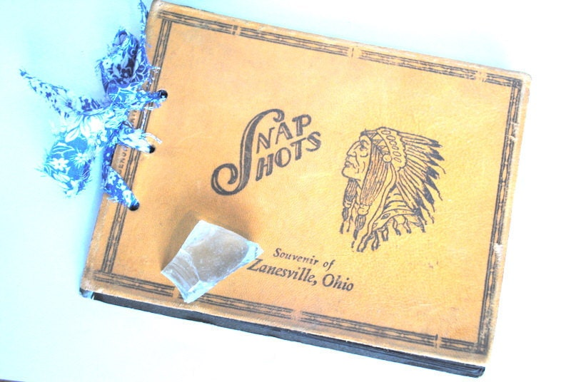 snapshots souvenir from zanesville ohio vintage photo album genuine leather