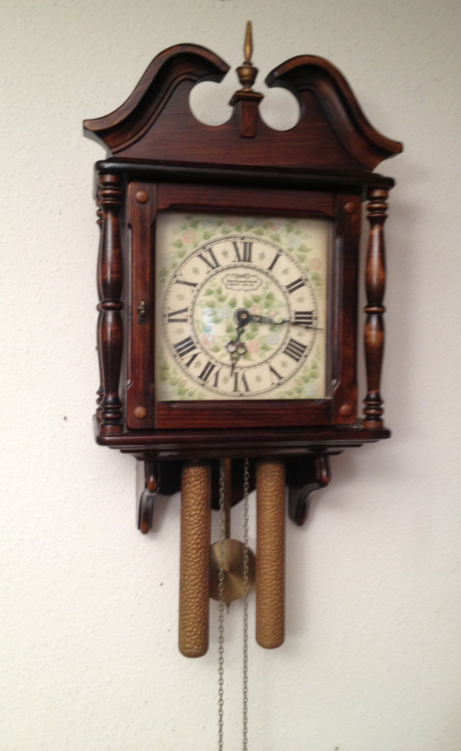 Vintage New England Clock Grandfather Wall Clock By