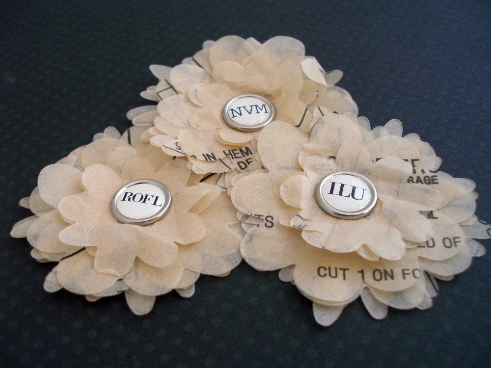Typewriter Keys - White - Sewing Pattern Petals