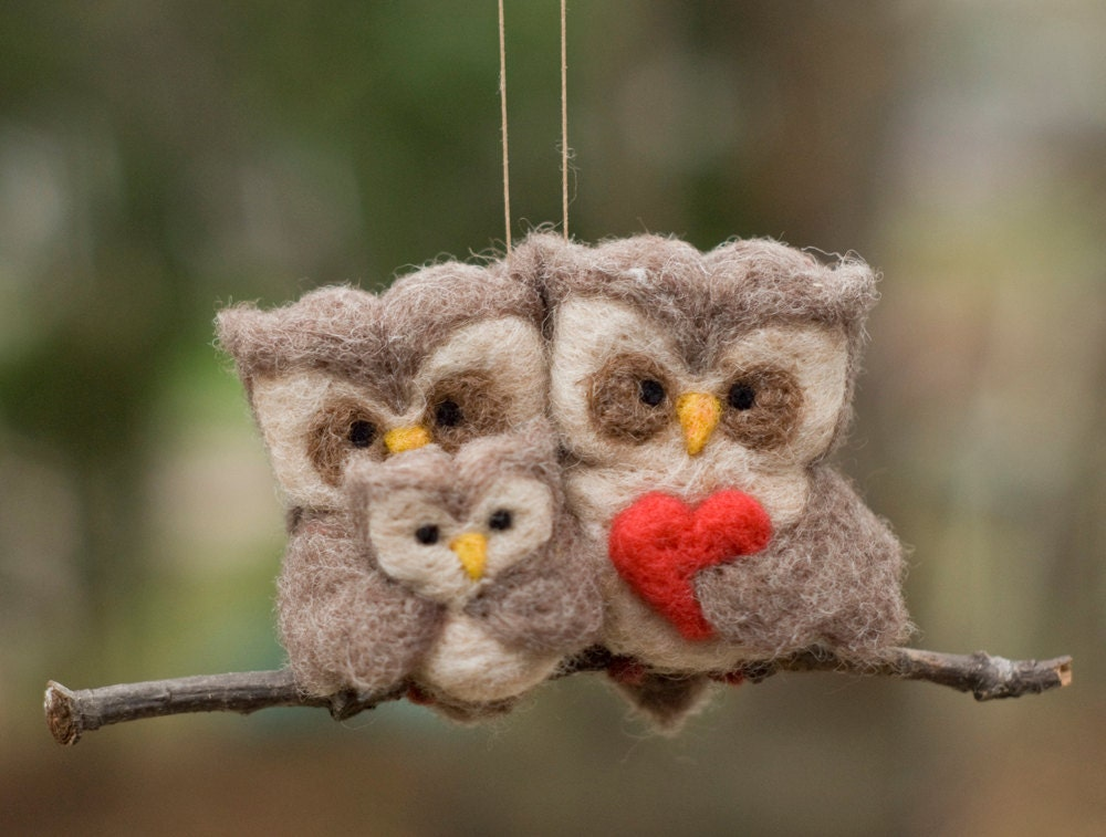 Needle Felted Owl Ornament - Family of Three - scratchcraft