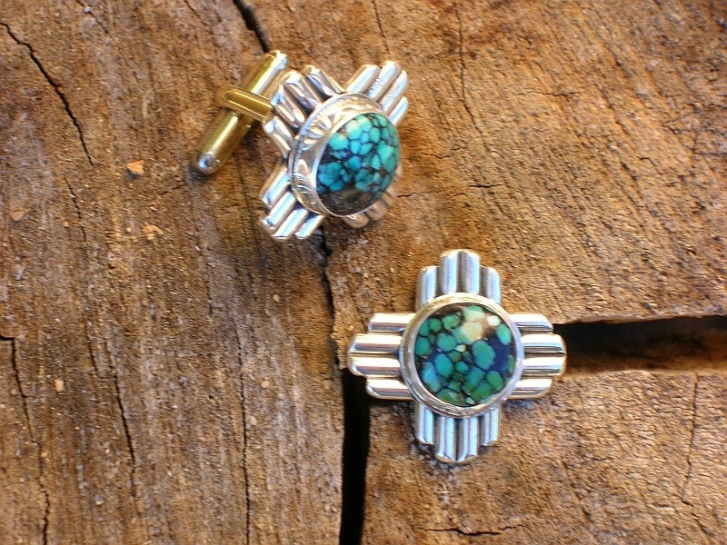 New Mexico  Zia Symbol and Turquoise Cuff Links