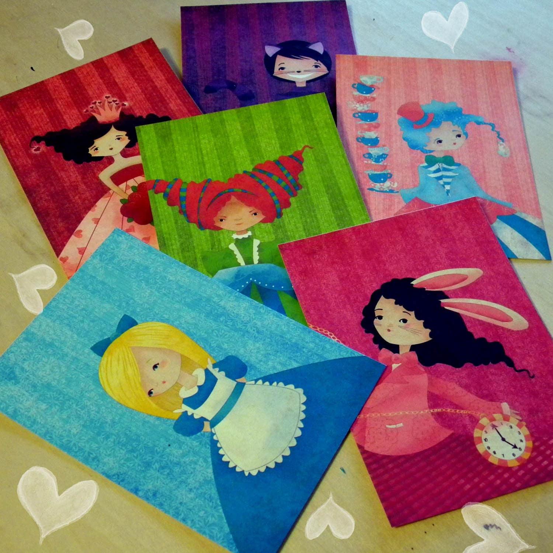 Alice in Wonderland Flat Notecards Set of 12