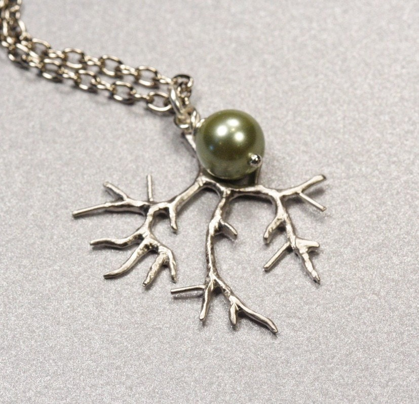 Simple Silver Green Tea Pearl Branch Necklace