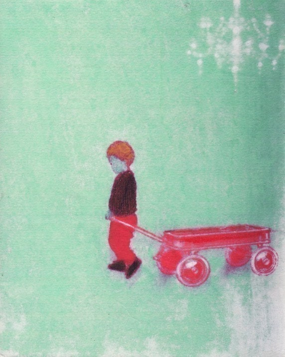 My Red Wagon Print - Free Shipping