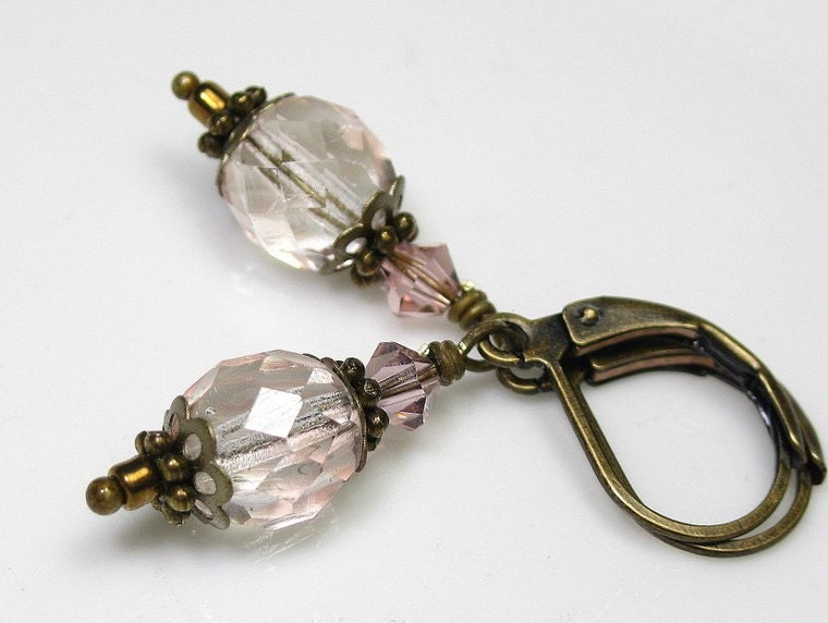 Vintage Rose Swarovski and Czech Glass Earrings