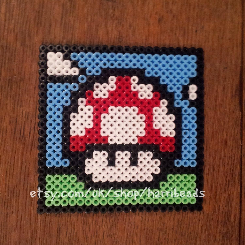 SALE Super Mario Mushroom Coaster (single) (in Red) made from Hama Beads