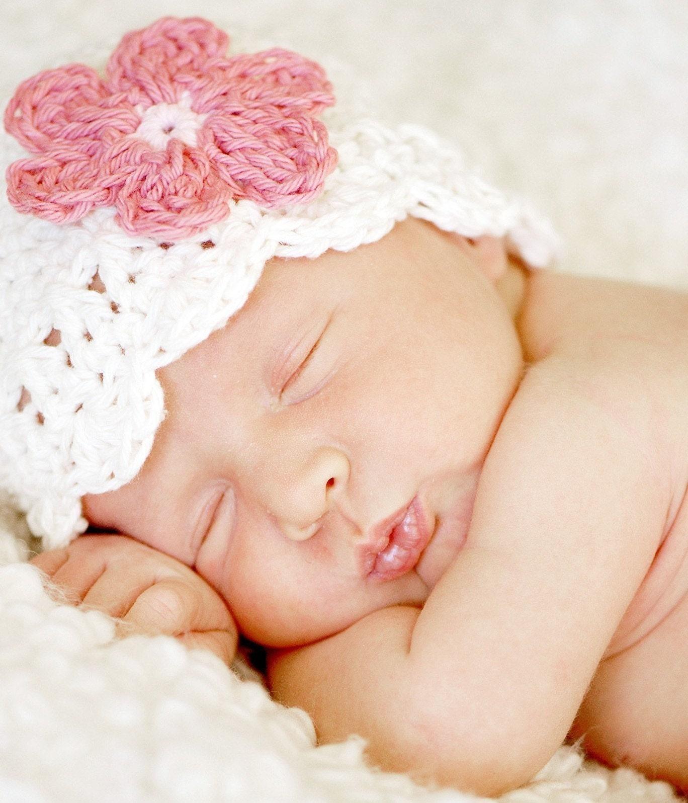 3-6 Month Daisy Flapper Beanie - vanilla, pastel pink, rose pink