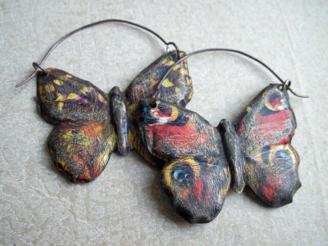 Holometabola. Vintage Tin Earring.