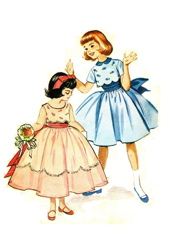 McCall's 2210 Vintage 50s Lovely Flower Girl or Confirmation DRESS Sewing Pattern Size 6 B24