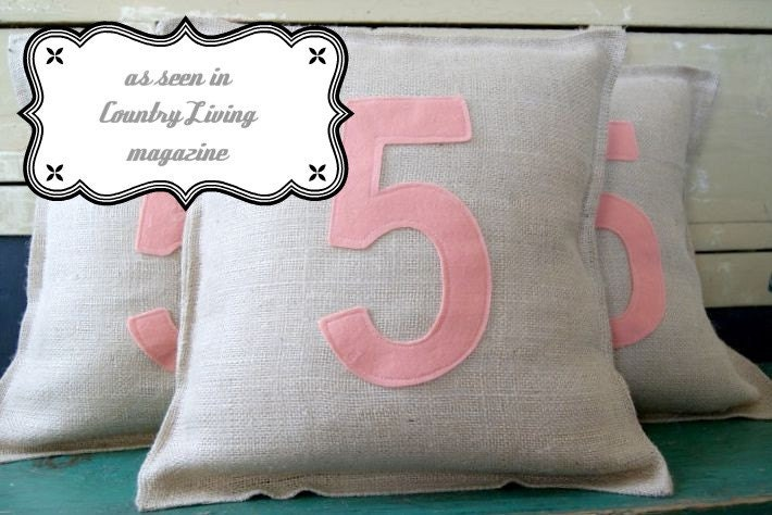 Numbered Burlap Pillow- As seen in COUNTRY LIVING MAGAZINE