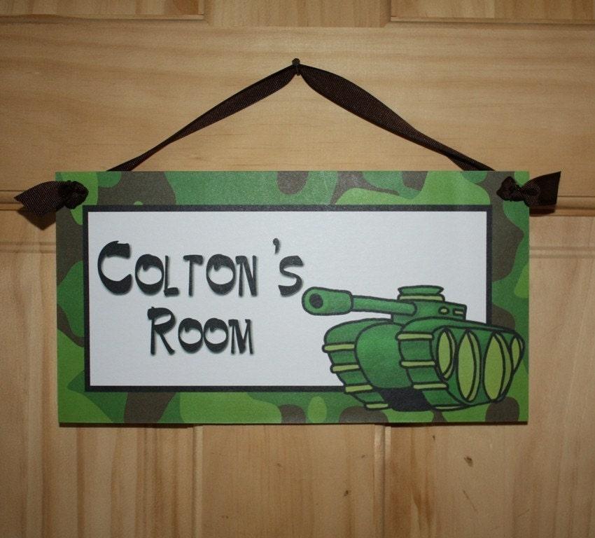 camo army tank boys bedroom door sign wall art by toadandlily